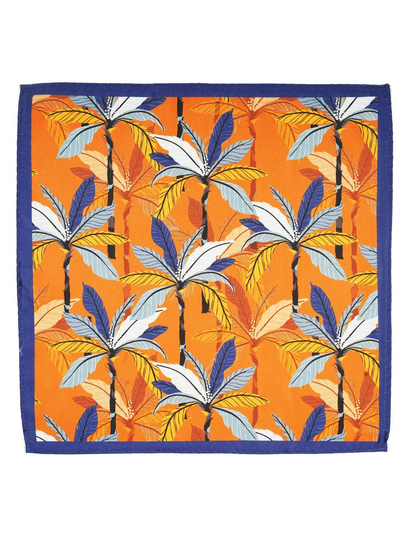 Orange Printed Floral Pocket Square - TOSSIDO