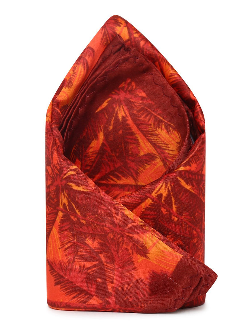 Orange Printed Pocket Square - TOSSIDO