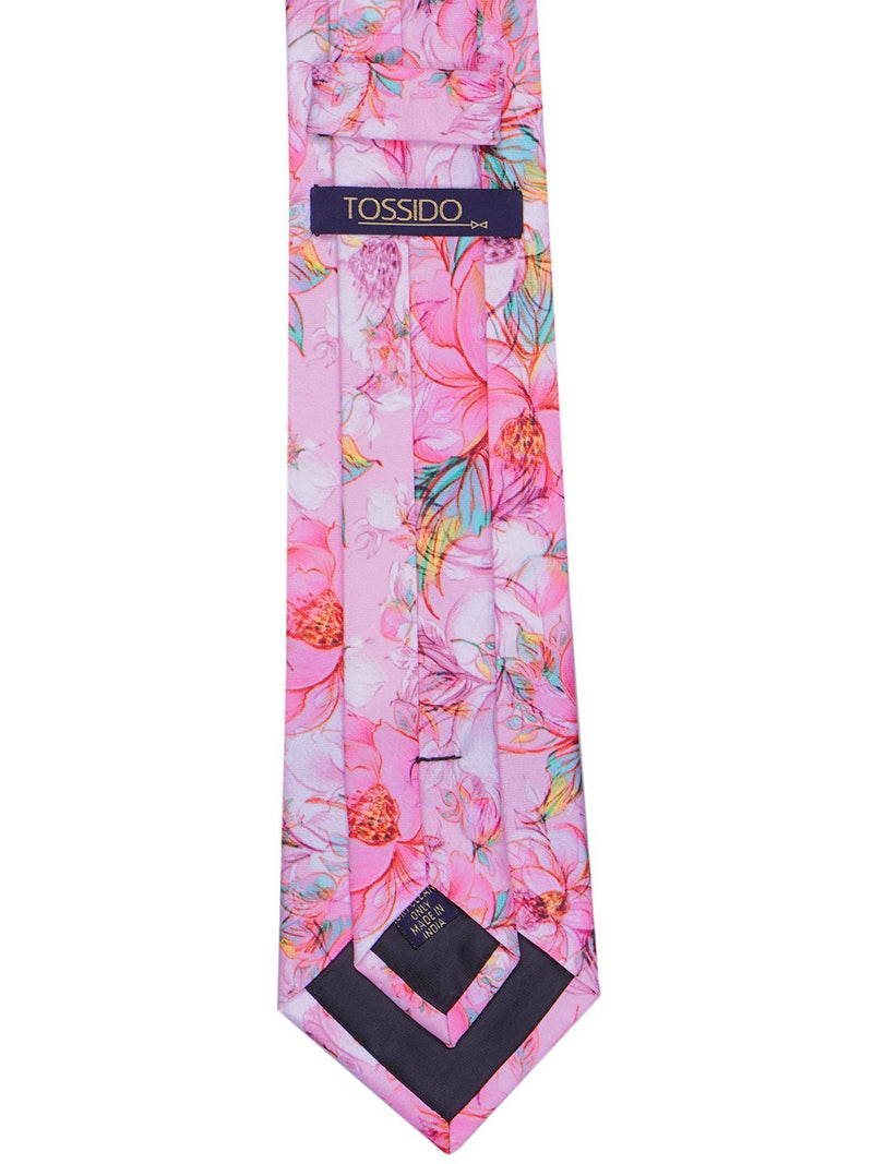 Pink Floral Printed Necktie - TOSSIDO