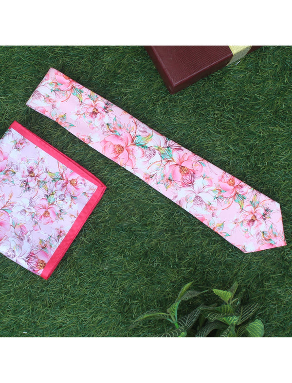 Pink Printed Necktie & Pocket Square Set - TOSSIDO