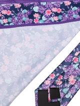 Purple Floral Necktie & Pocket Square Giftset - TOSSIDO