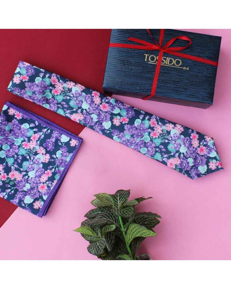 Purple Necktie & Pocket Square Set - TOSSIDO