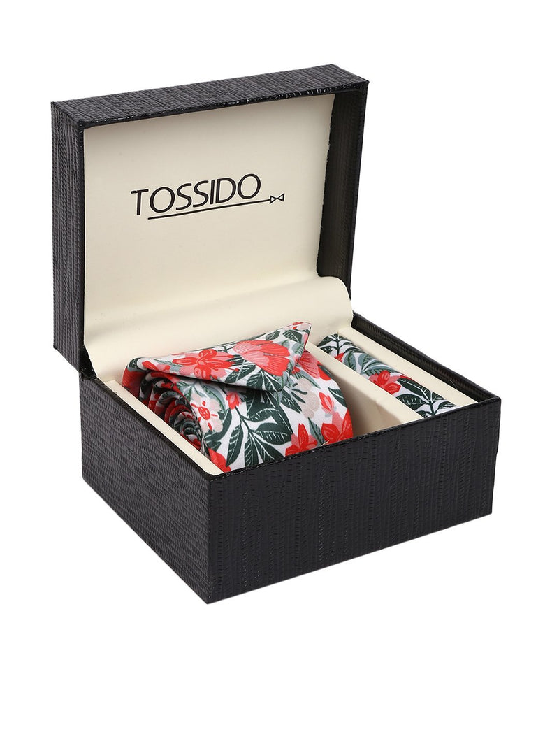 Red & Green Floral Necktie & pocket square giftset - TOSSIDO