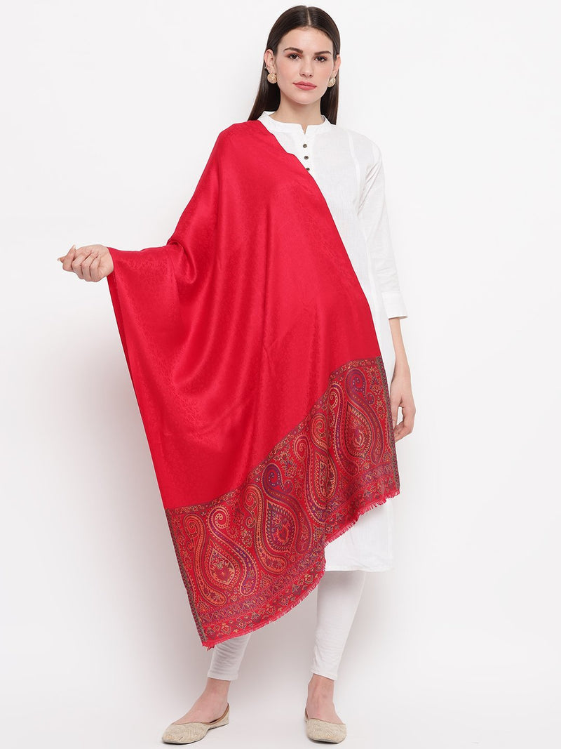 Red self design with woven border Modal Stole - TOSSIDO