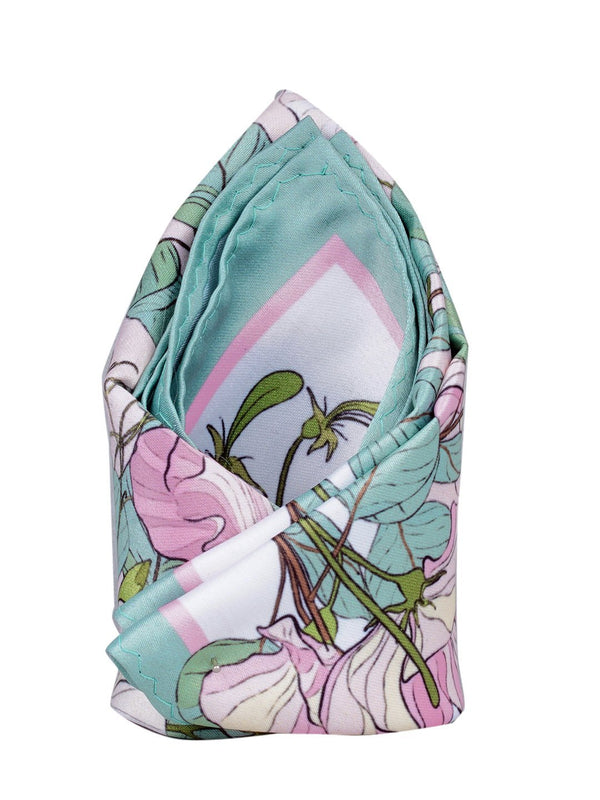 Sea Green & Pink Printed Pocket Square - TOSSIDO