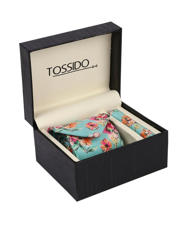 Sea Green Printed Necktie & Pocket Square Set - TOSSIDO