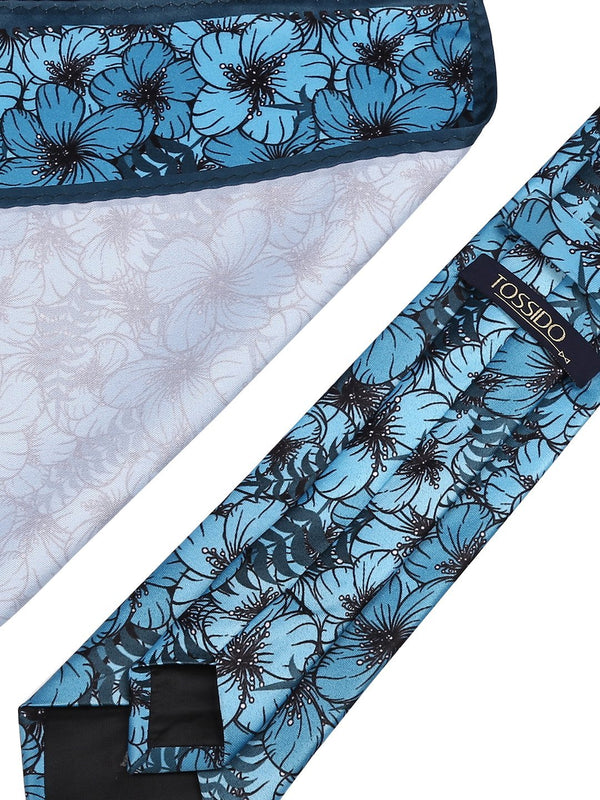 Turquoise Blue Printed Necktie & Pocket Square Set - TOSSIDO