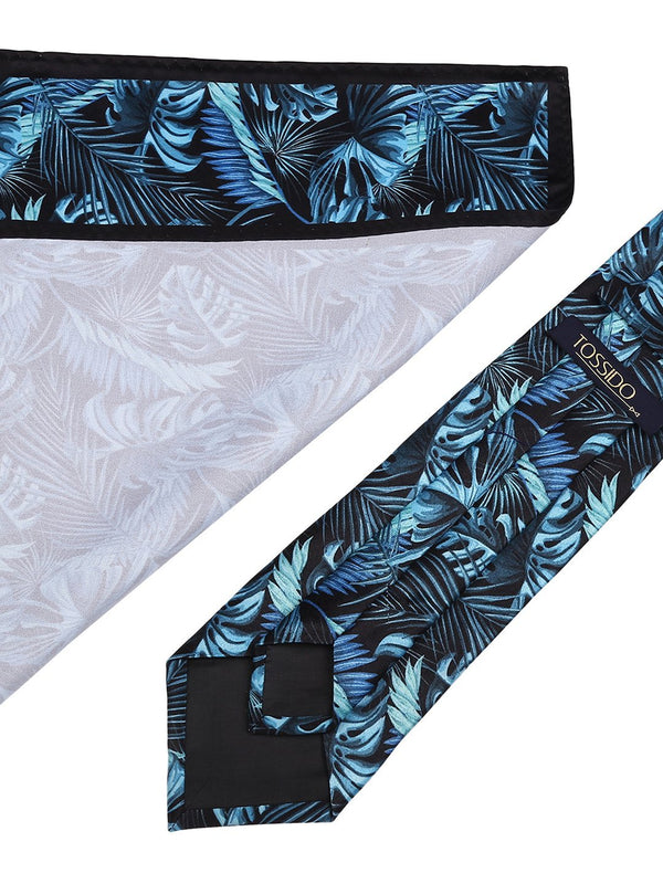 Turquoise Blue Printed Necktie & Pocket Square Set