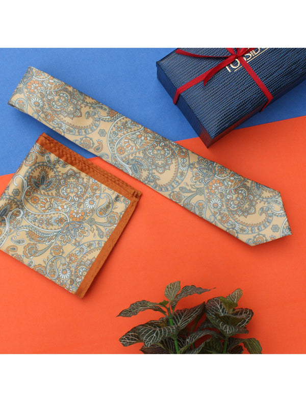 Yellow Paisley Necktie & pocket square giftset - TOSSIDO
