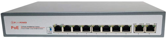 8 Port POE Switch W/ 2 Uplink Ports | Extend Mode for 800' Cable Runs | POE+ Capable of 30 Watts per Port | 130 Watts Total Budget IPCP-8P2G-EXAF