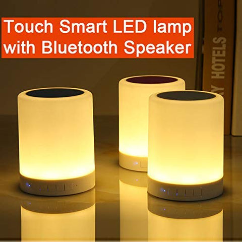 LED Touch Lamp Bluetooth Speaker, Wireless HiFi Speaker Light, USB Rechargeable Portable with TWS, Bedside Table Lamp, Speakerphone/TF Card/AUX-in Supported