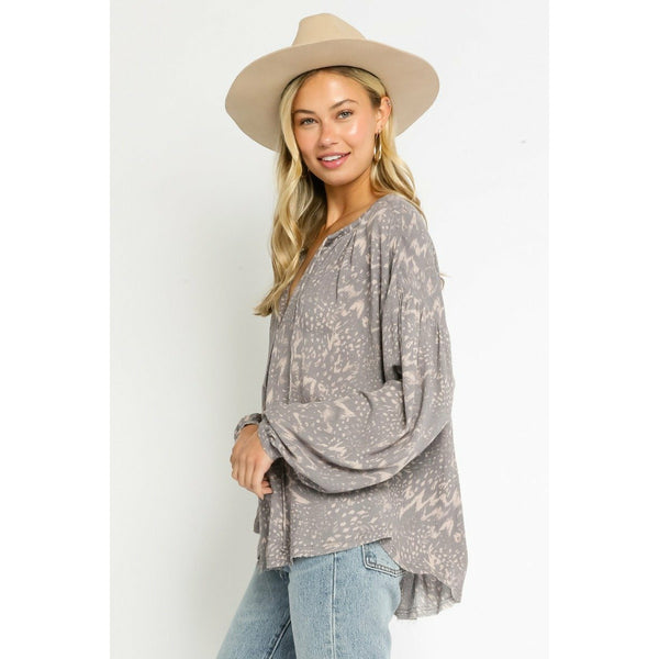 Echo Grey Peasant Top