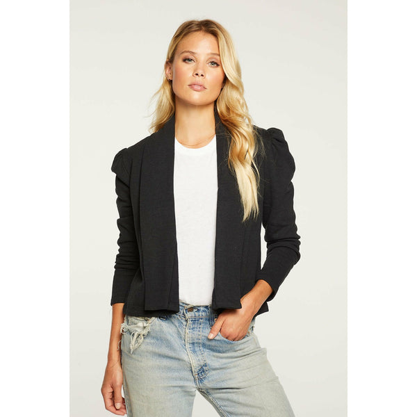 Cashmere Fleece Cropped Puff Sleeve Blazer
