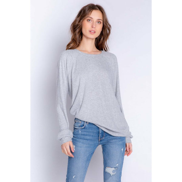 Textured Lounge Basic Long Sleeve Top