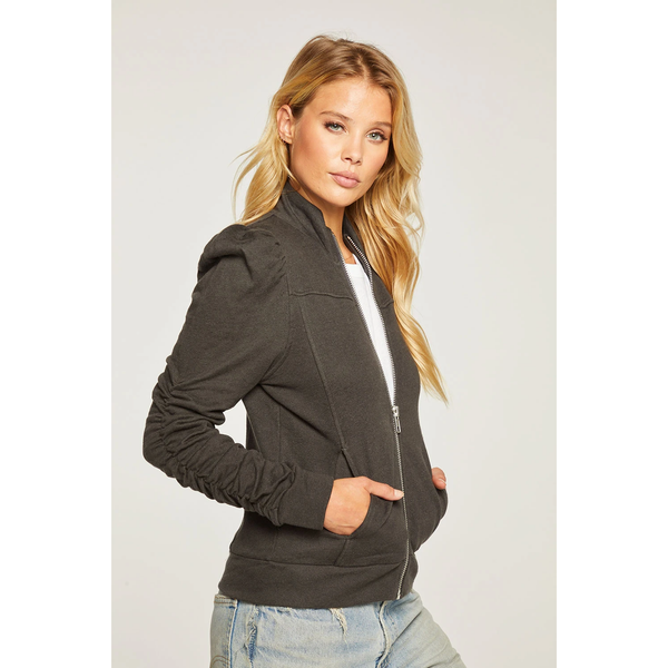Linen French Terry Shirred Puff Sleeve Zip Up Jacket