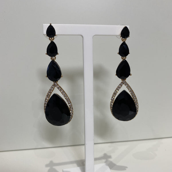 Black Glam Long Drop Earrings 123