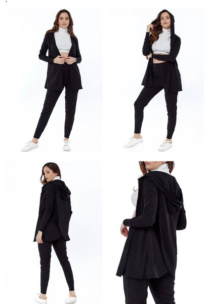 Black Wrap Back Cardigan and Legging Loungewear Set