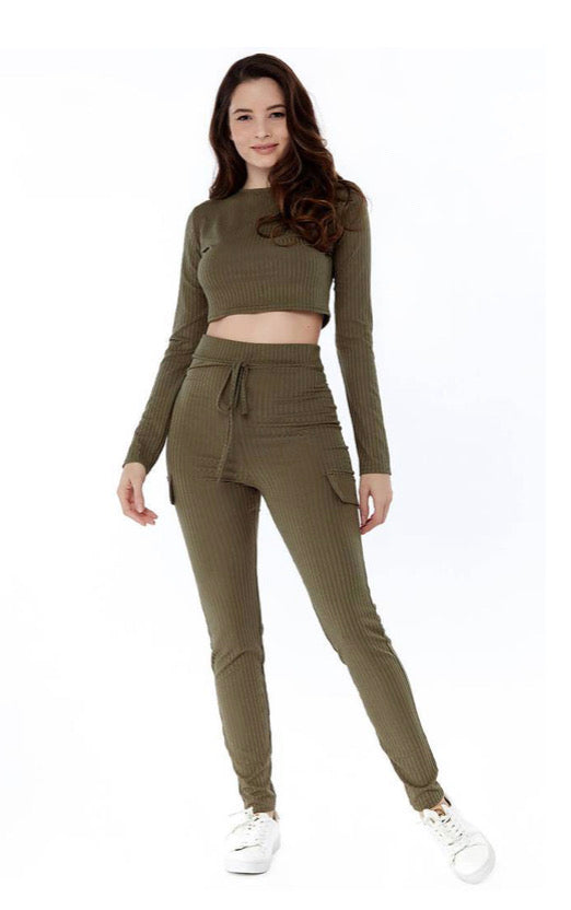 Sleeve Crop Top and Ribbed Pocket Detail Loungewear Set