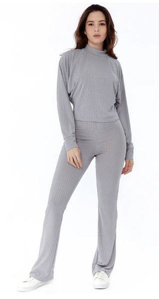 Grey Wide Leg Ribbed Loungewear Set