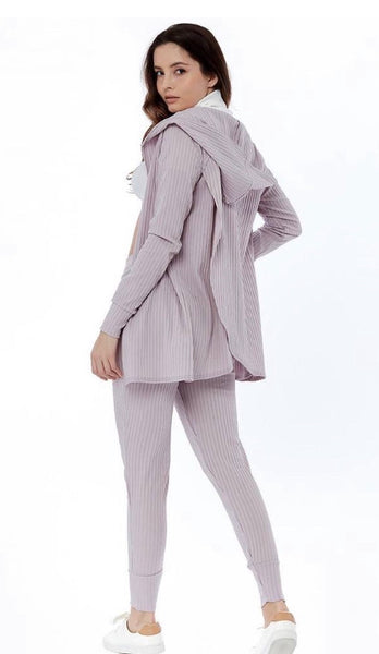 Grey Wrap Back Cardigan and Legging Loungewear Set