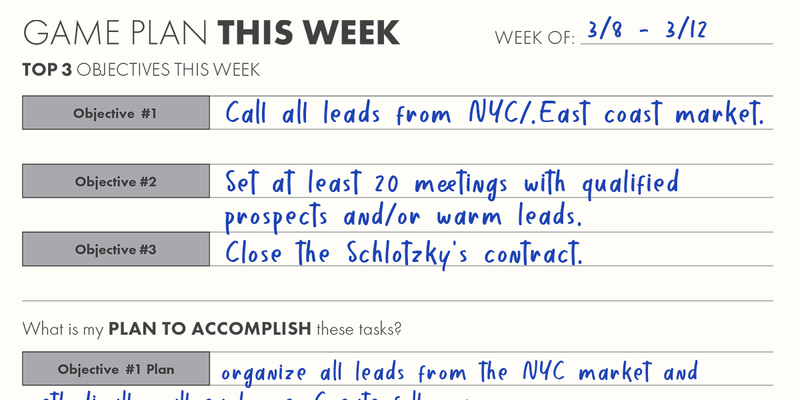 Using the Sales Planner | Weekly Game Plan and Analysis