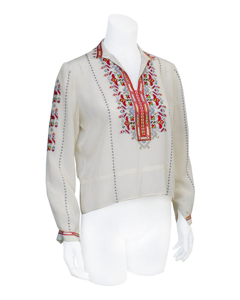 Cream Peasant Blouse with Red Embroidery