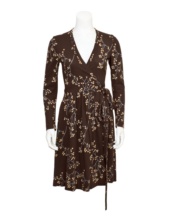 Brown floral branch printed wrap dress