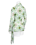 Green and White Iconic Wrap Top