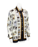 Cream 'Money' Print Silk Blouse