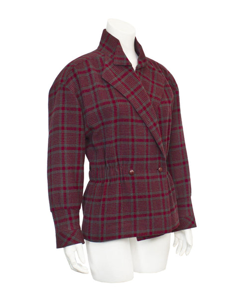 Red and Grey checked peplum jacket