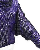 Purple Sequinned Cowl Neck Top