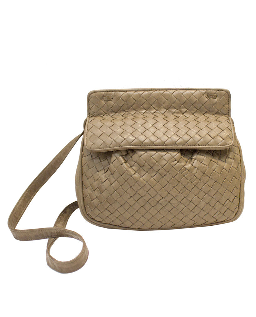 Taupe Woven Leather Crossbody Bag