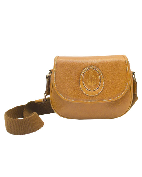 Leather mini bag with wide shoulder strap