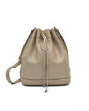 Taupe leather drawstring bag