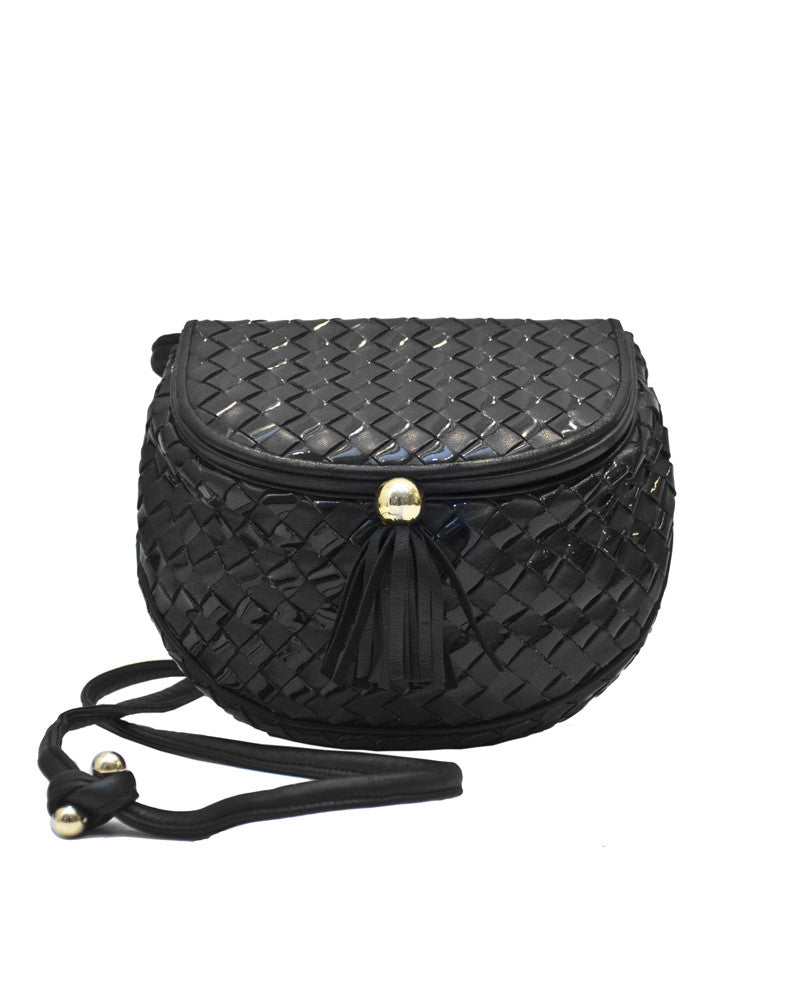 Bottega Veneta Style Black Leather & Patent Woven Mini Bucket Bag