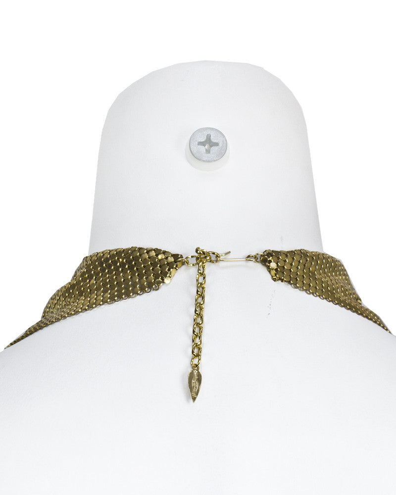 Gold mesh scarf necklace