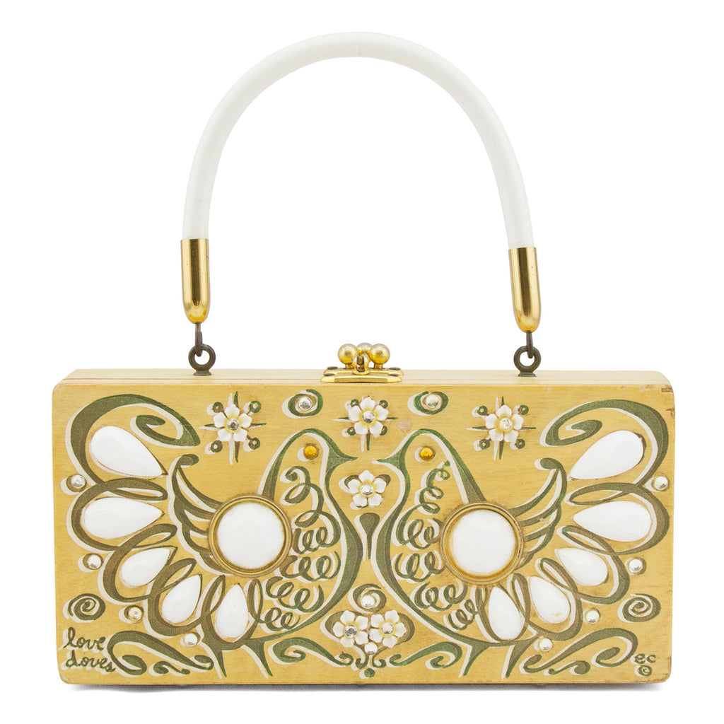 Rectangle Wood Top Handle Bag with White Dove Details