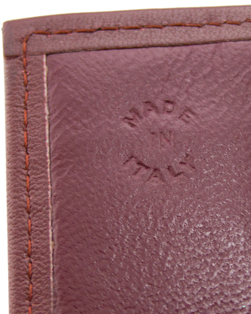 Burgundy Leather Billfold Wallet With Fold-Over Closure