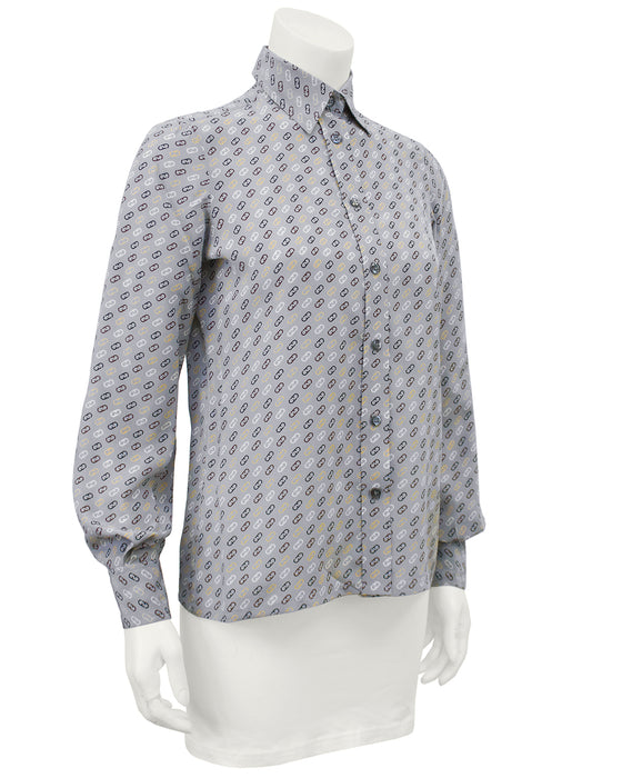 Grey Silk Blouse with Logo Link Pattern