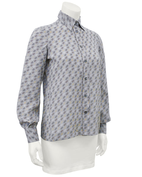 Gray Silk Blouse with Logo Link Pattern
