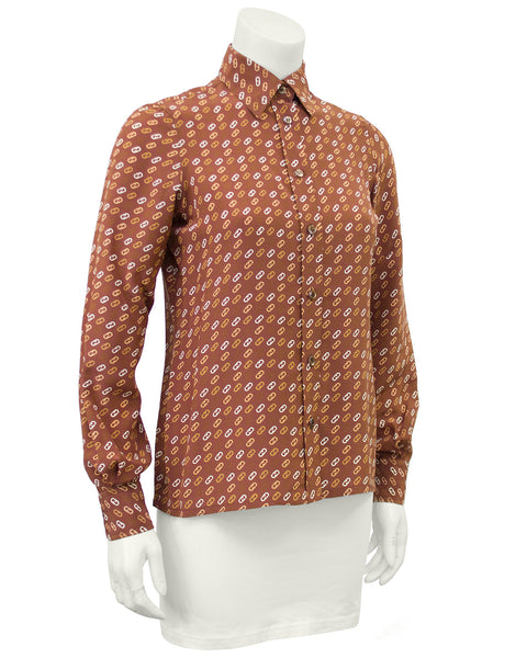 Tan Silk Blouse with Logo Link Pattern