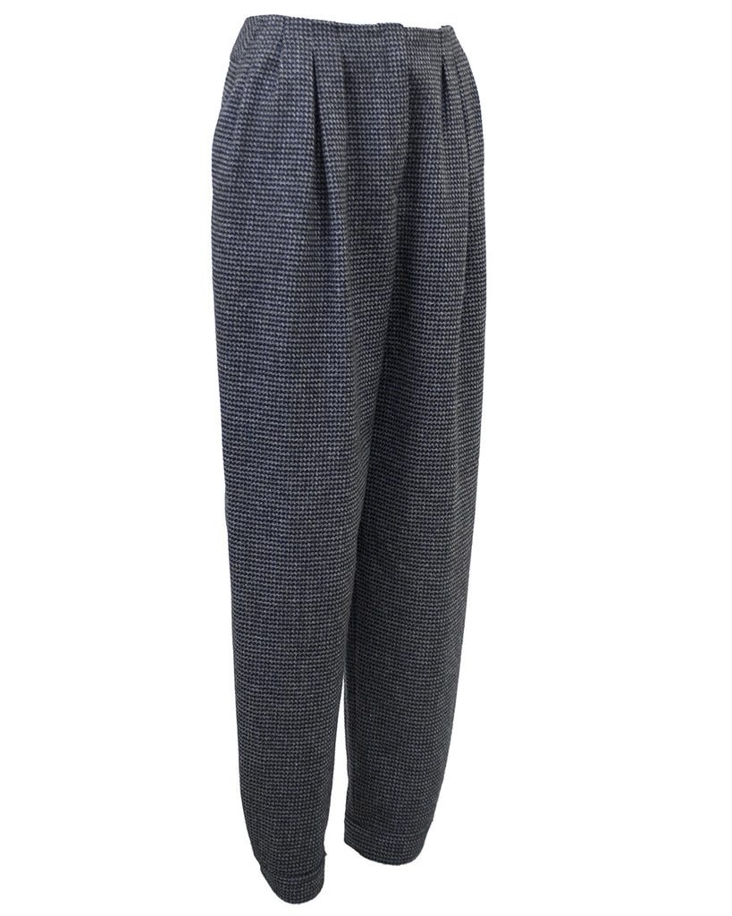 Black and Grey Houndstooth Wool Pants