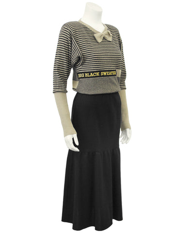 Black and Cream Knit Skirt and Sweater Ensemble