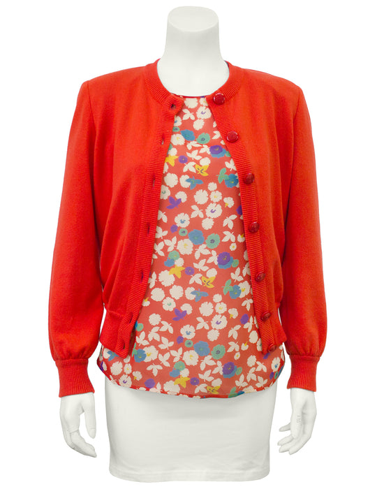 Red Floral Silk Sweater & Blouse Set