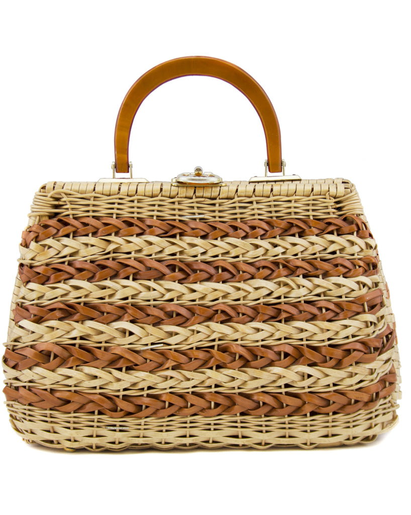 Braided Tan and Brown Wicker Top Handle Bag