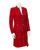 Red Knit Chanel Inspired Suit