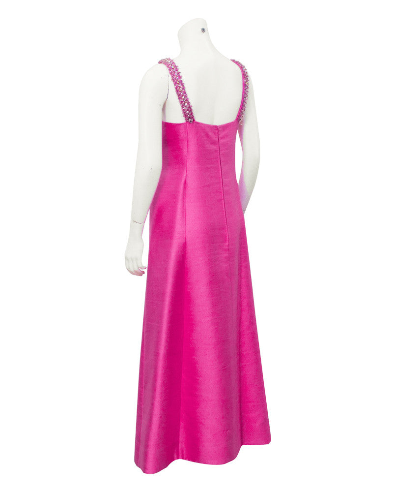 Pink raw silk evening gown with beaded neckline