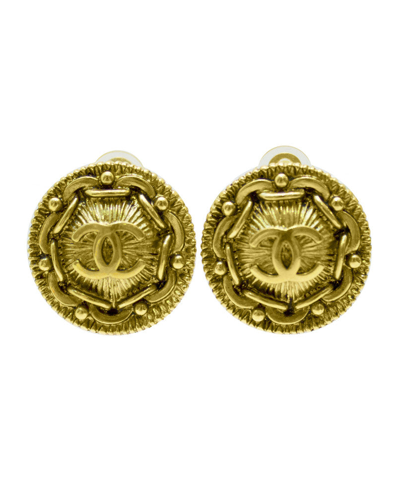 Gold CC earrings with chain