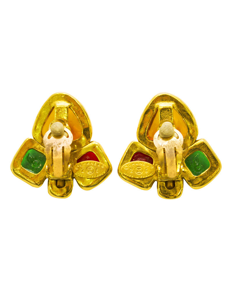 Multi-colored gripoix earrings