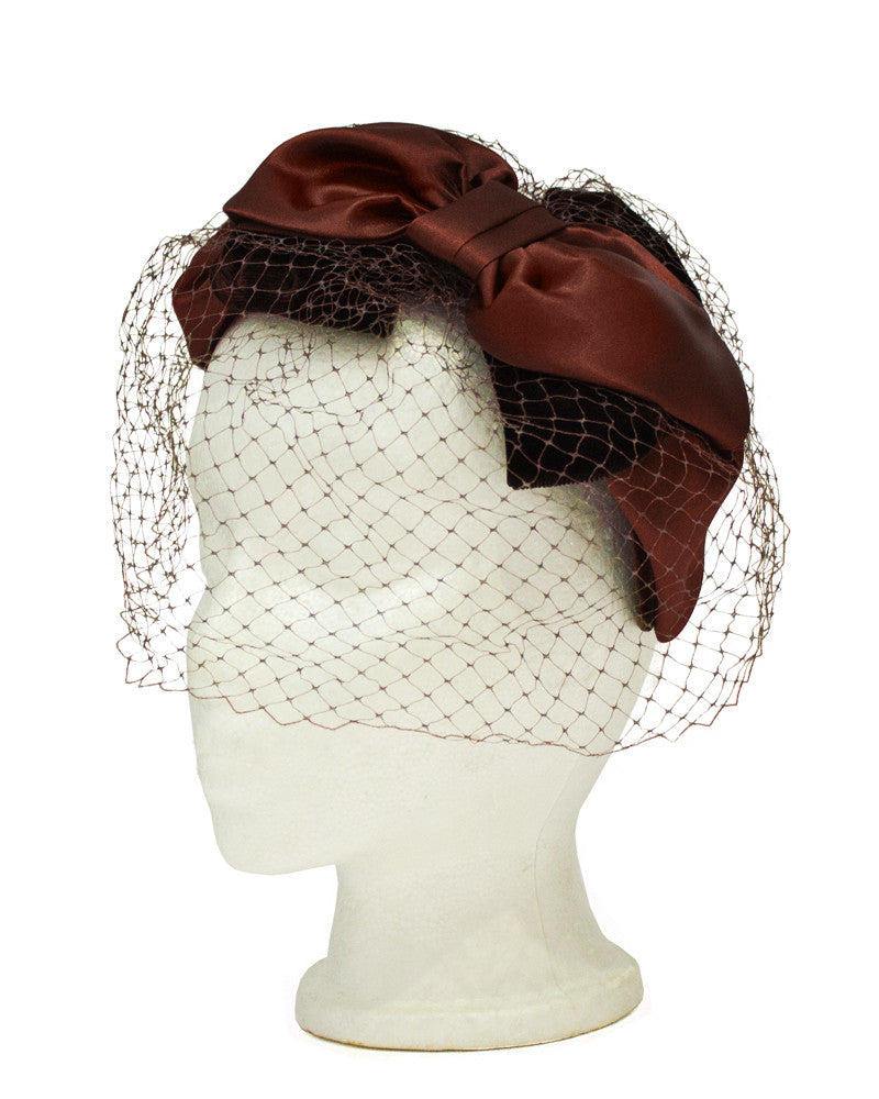 Brown Satin and Net Evening Fascinator Hat